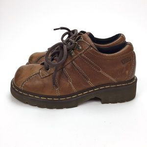 Dr Martens Brown Leather Low Top, 7.5 Women's